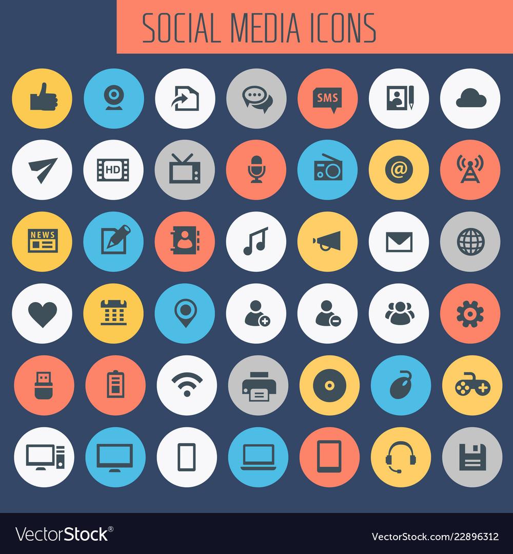 Big social media icon set trendy line icons