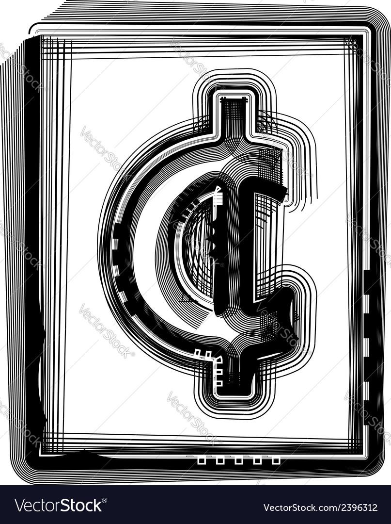 Cent Striped Symbol Royalty Free Vector Image Vectorstock