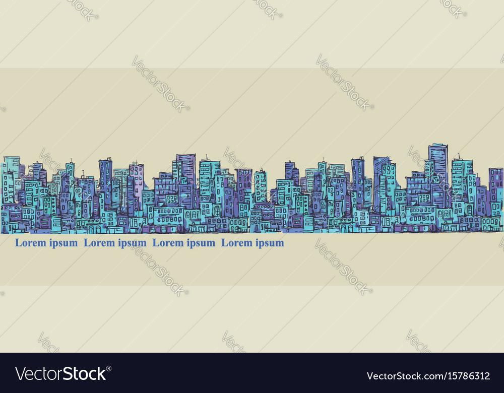 City panorama hand drawn cityscape