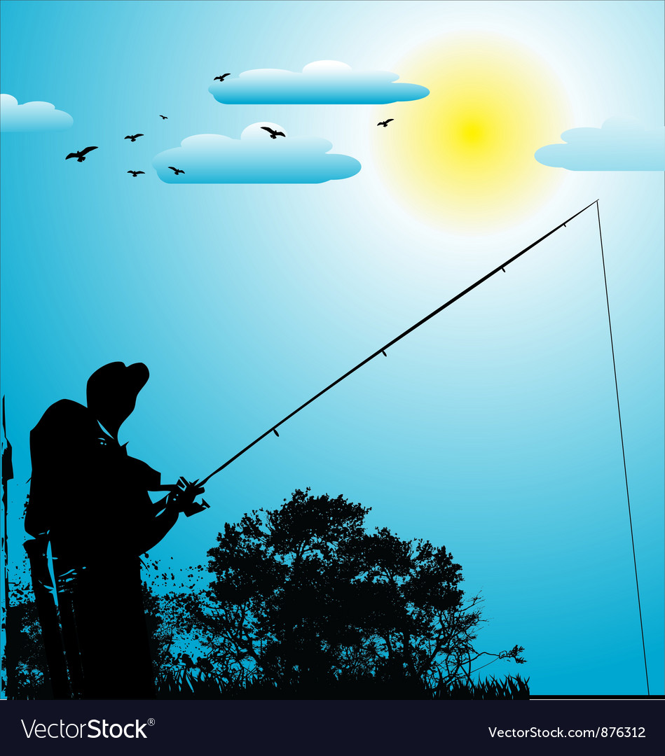 Fishing background vector image