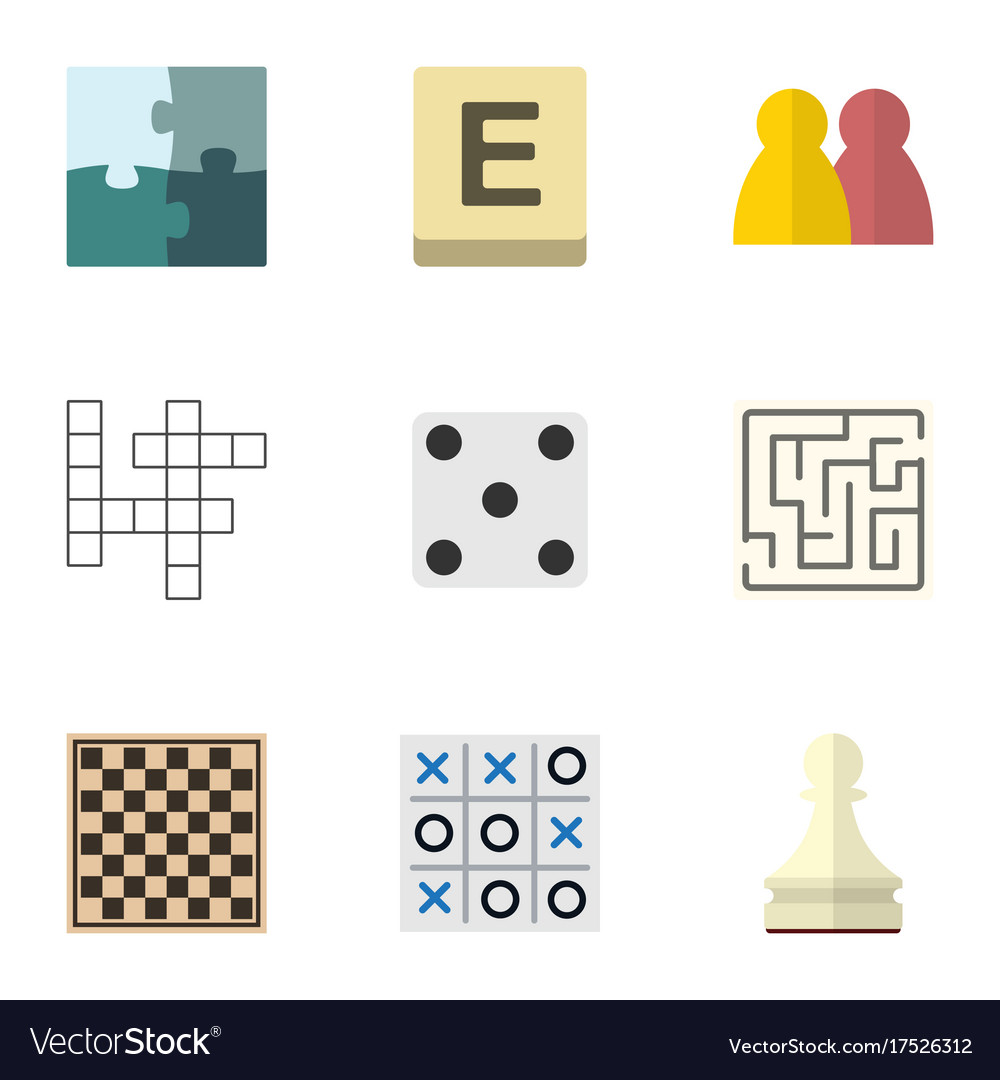 Flat icon games set of pawn x-o chess table and vector image