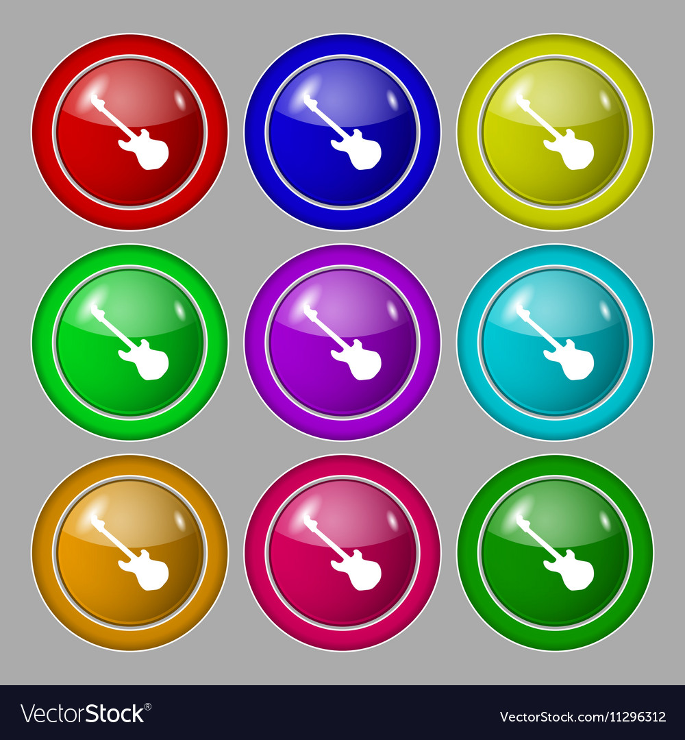 Guitar icon sign symbol on nine round colourful vector image