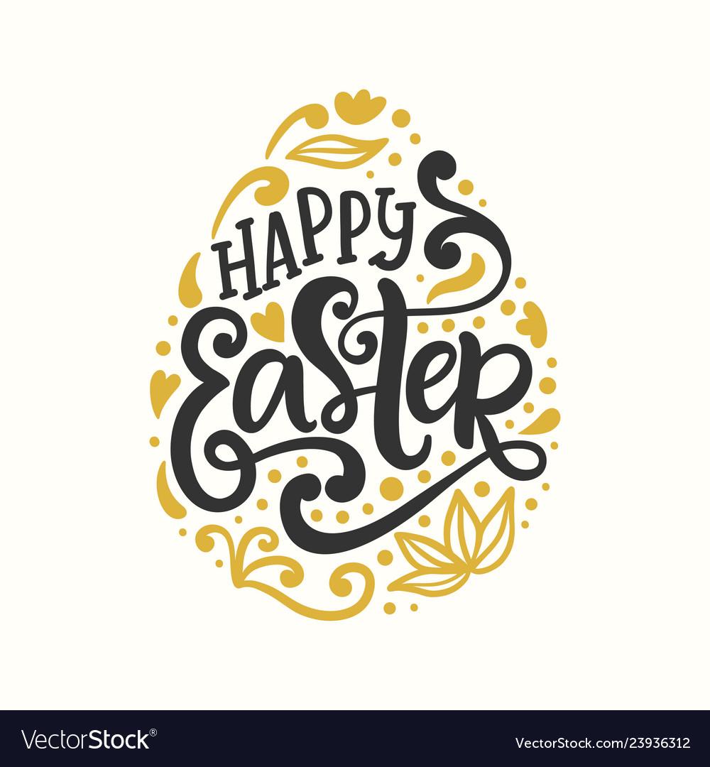 Happy easter egg badge emblem with lettering