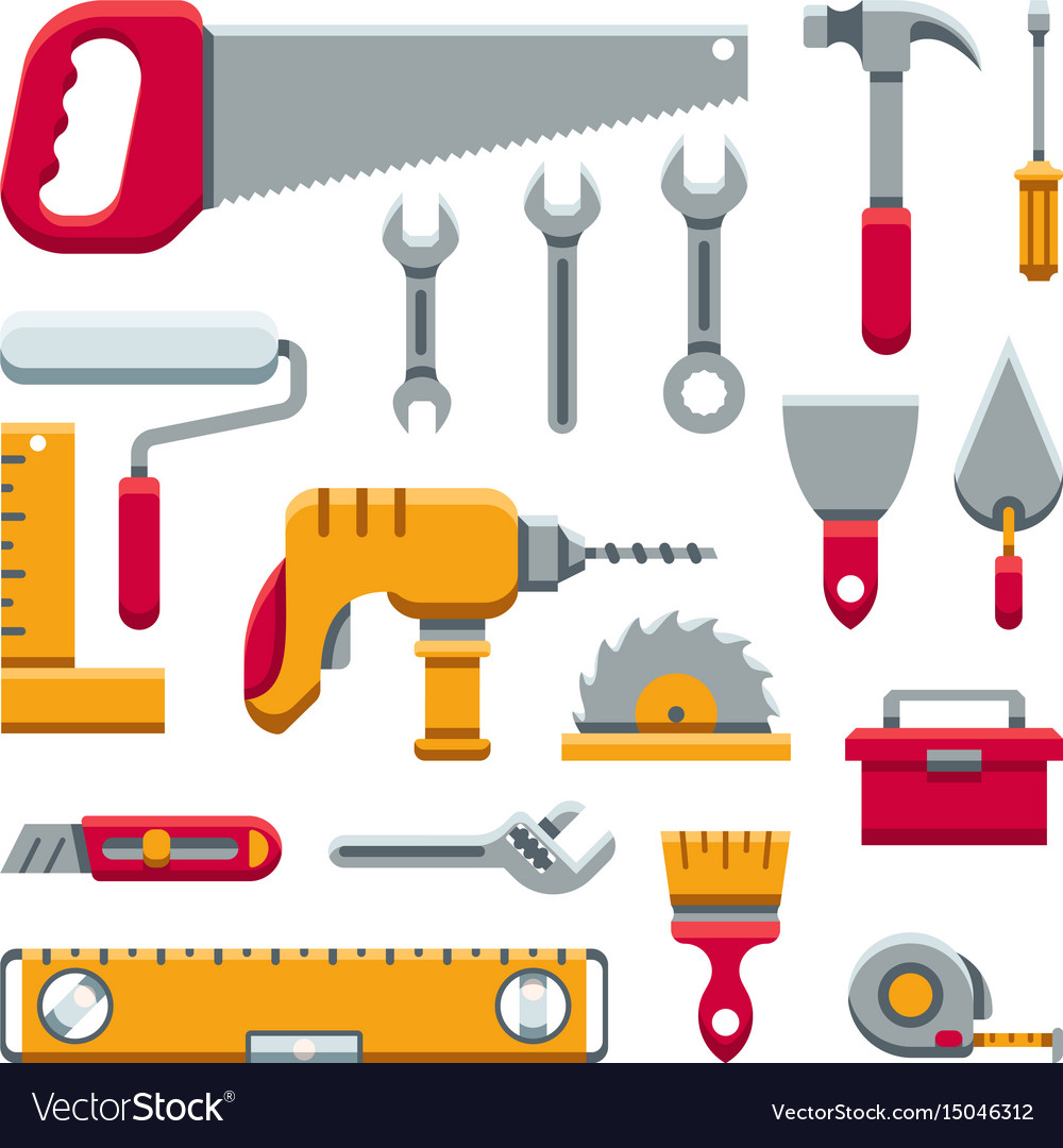 Hardware industrial tools kit flat icons