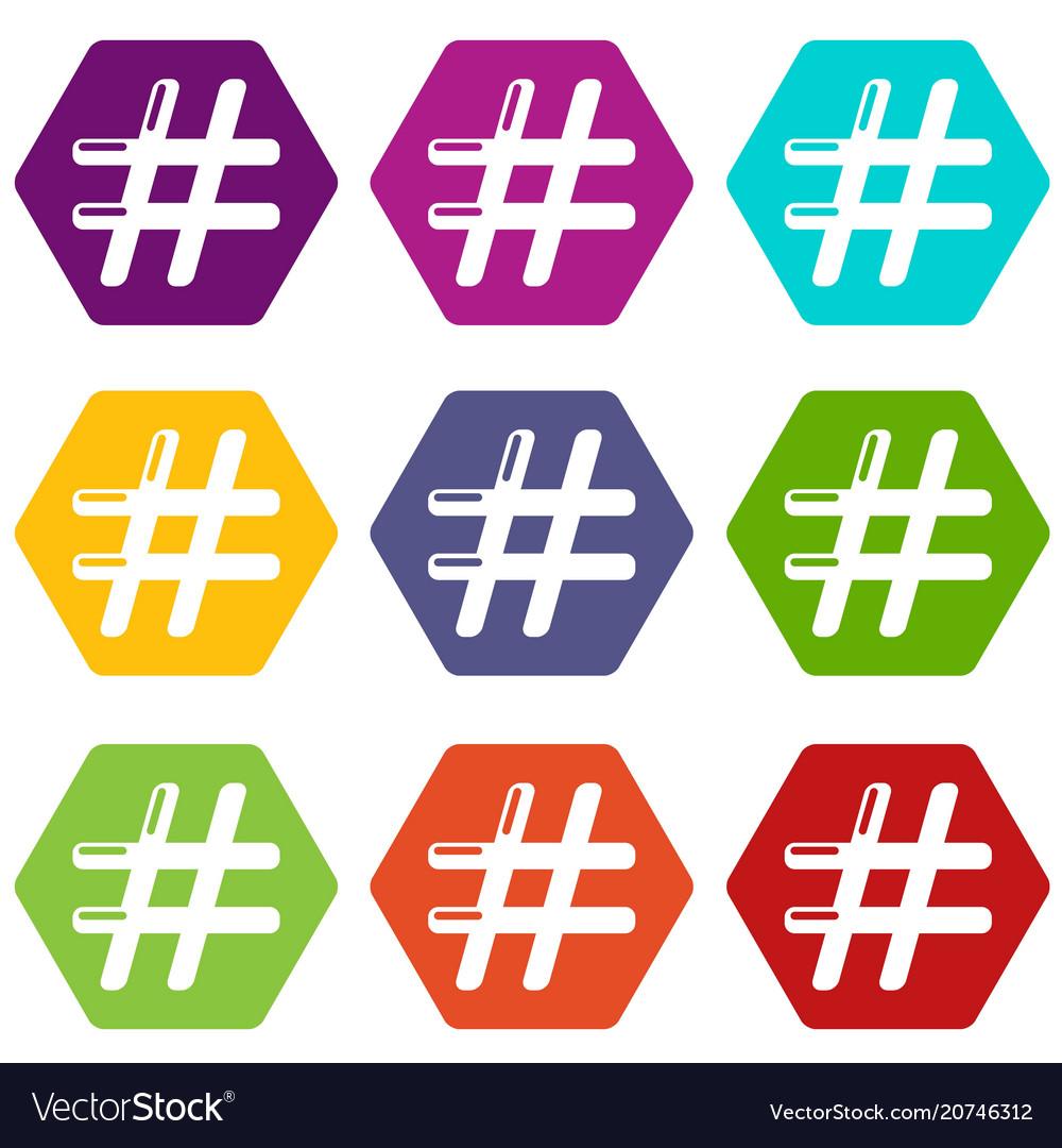 Hashtag icons set 9