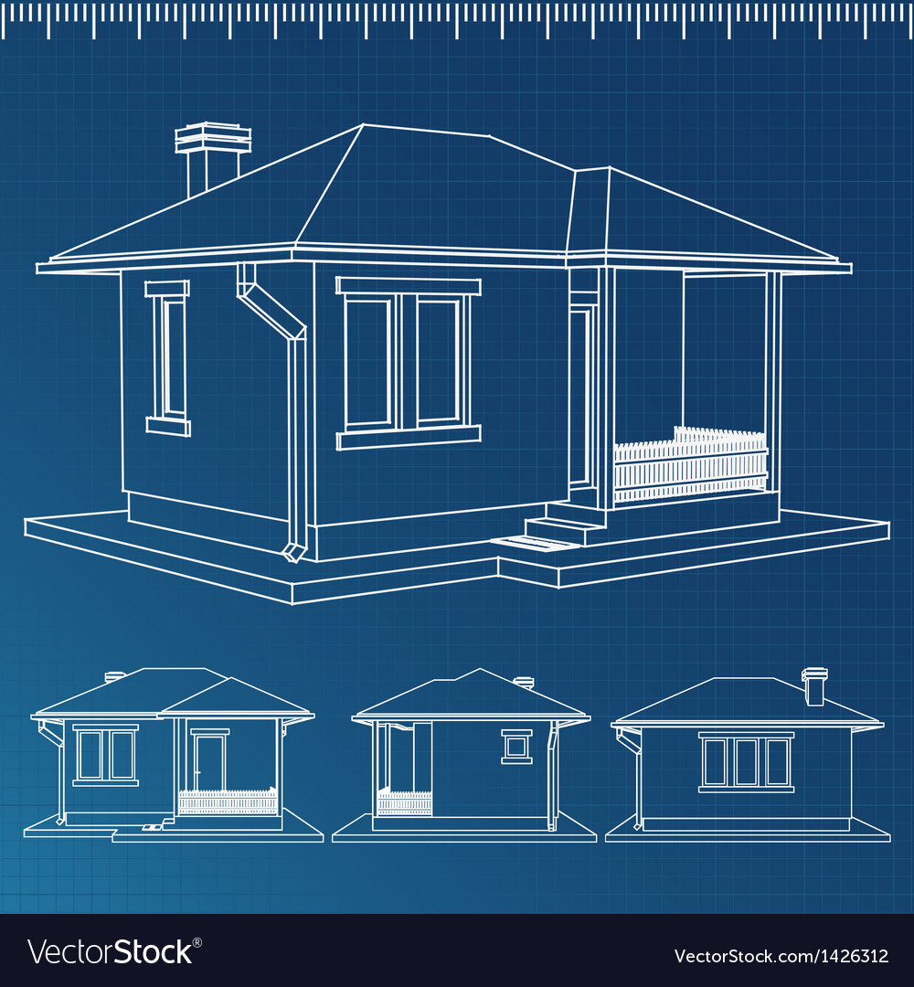 Wonderful House Blueprint Vector Image