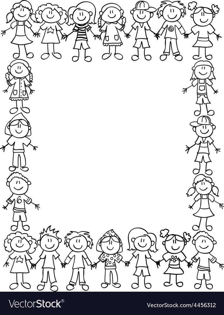 Kids friendship border-outline vector image