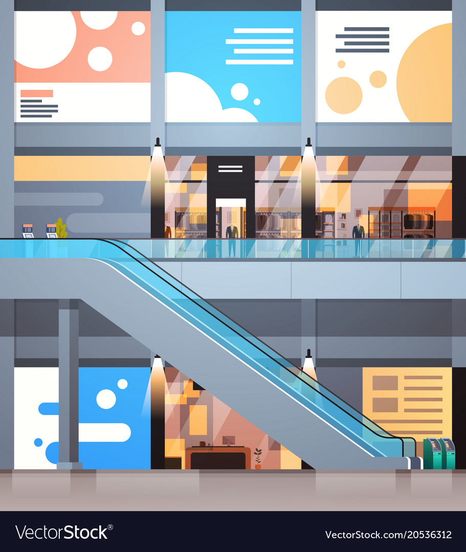 Modern Shopping Center Interior Big Retail Store Vector Image