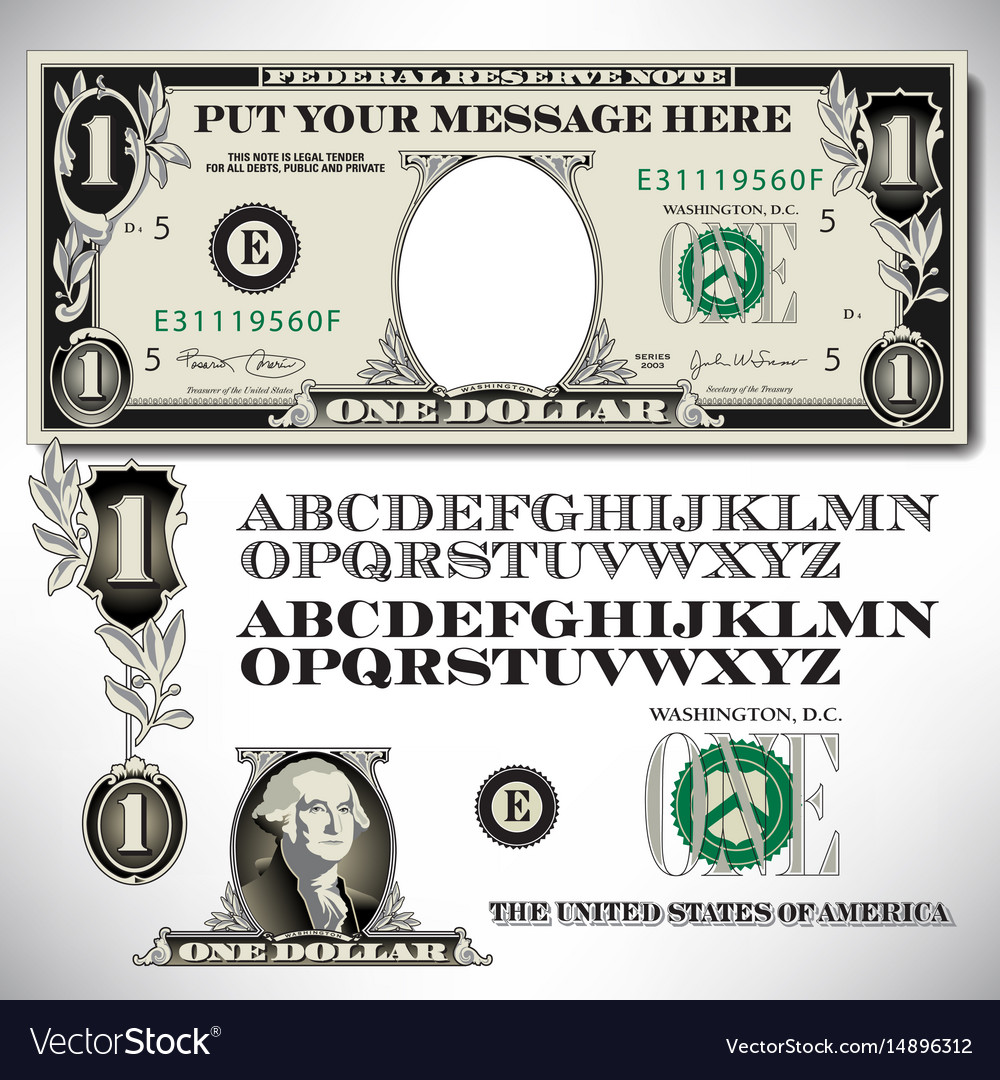 One dollar bill parts with an alphabet vector image