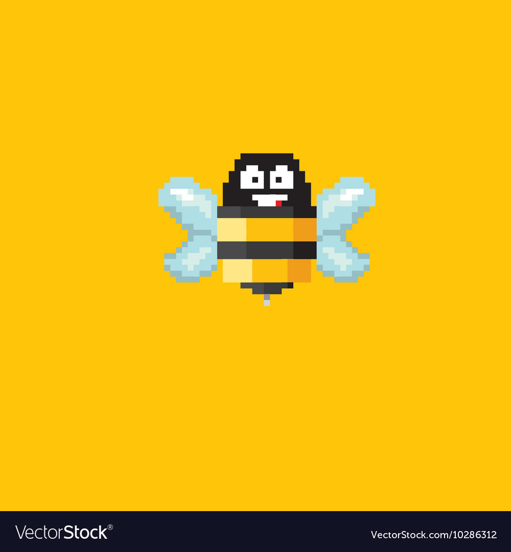 Pixel Art Funny Bee Sign Royalty Free Vector Image