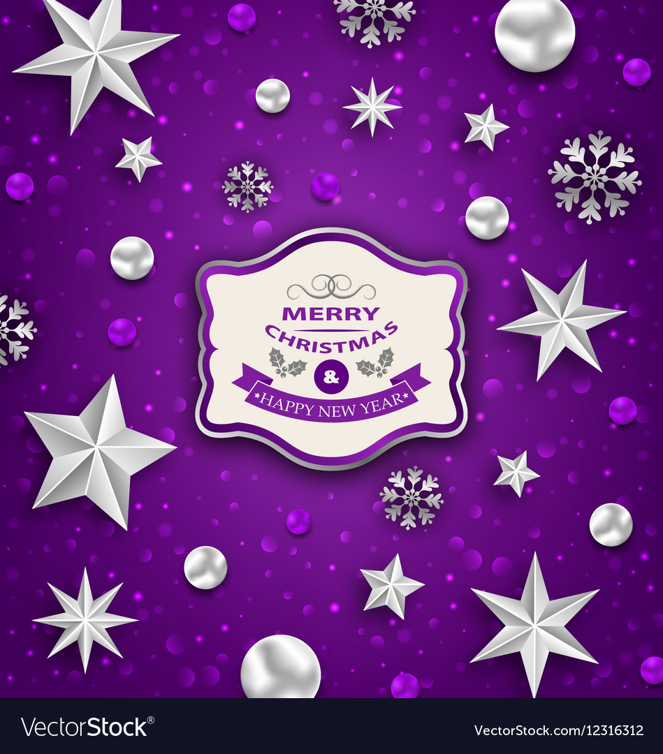 Purple Abstract Celebration Card with Silver Stars
