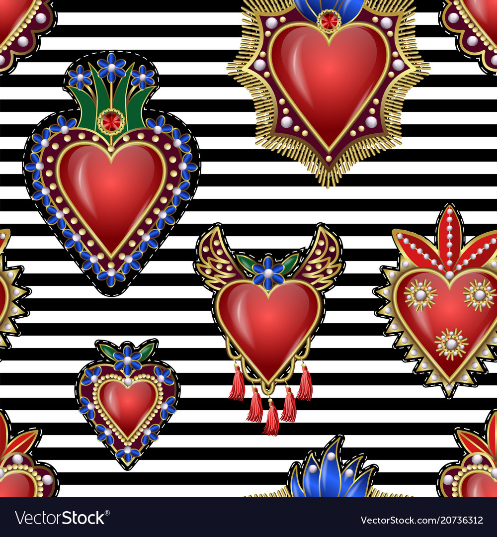 Seamless pattern with traditional mexican hearts