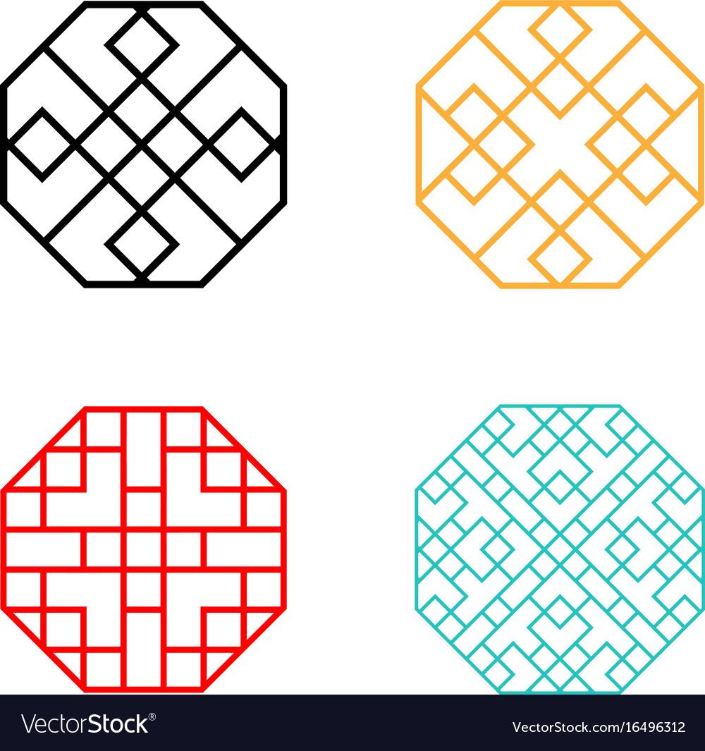 Set of hexagon korean pattern window frame Vector Image