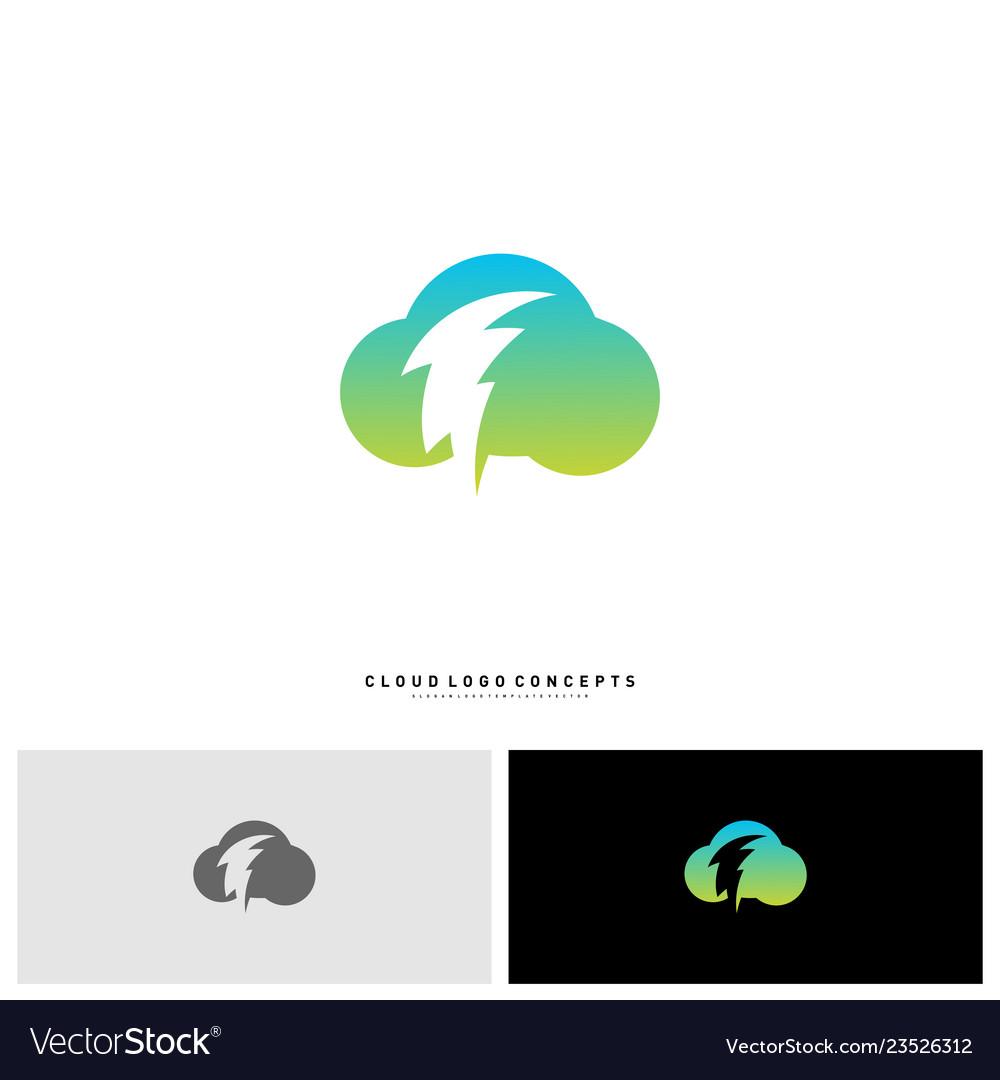 Storm cloud logo design concept thunder cloud