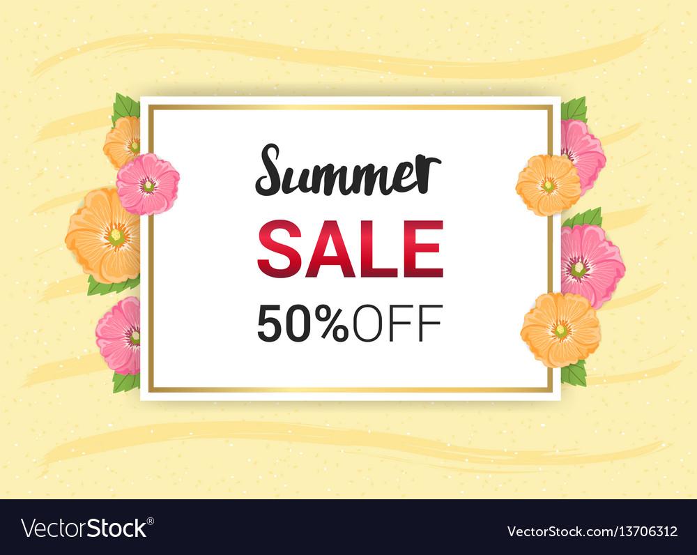 Summer flowers frame or summer floral design on vector image