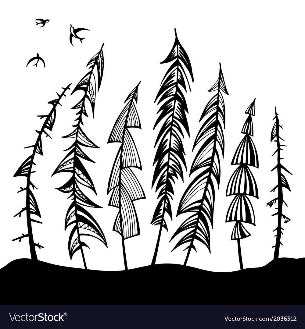 Vintage forest set vector image