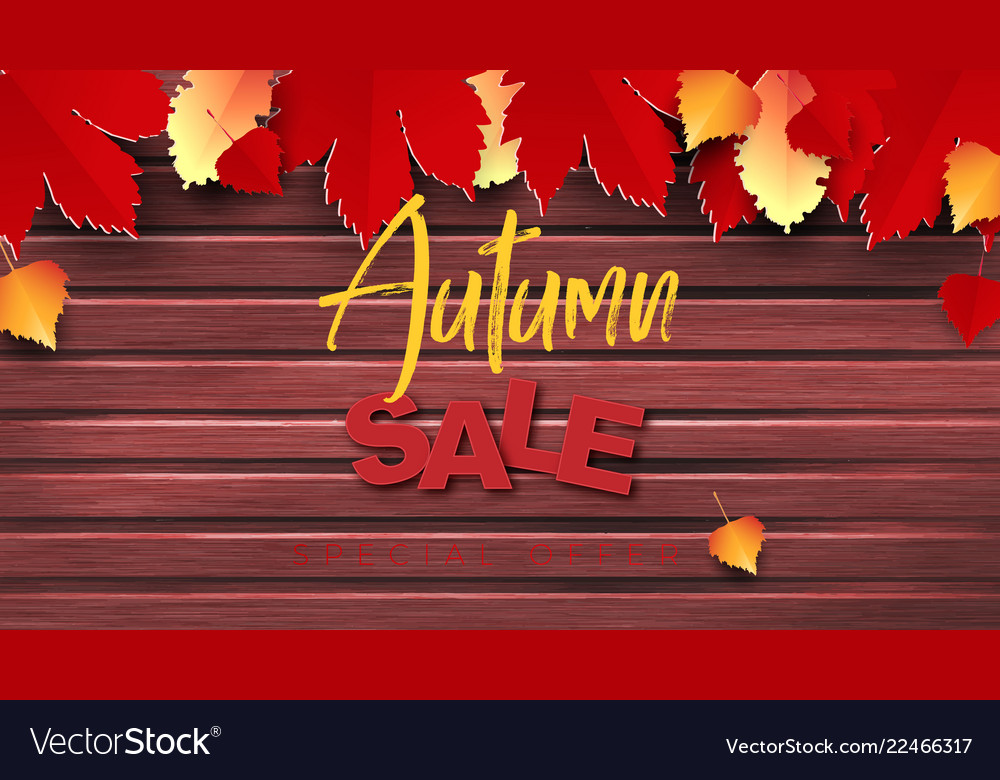 Autumn sale text banner design with