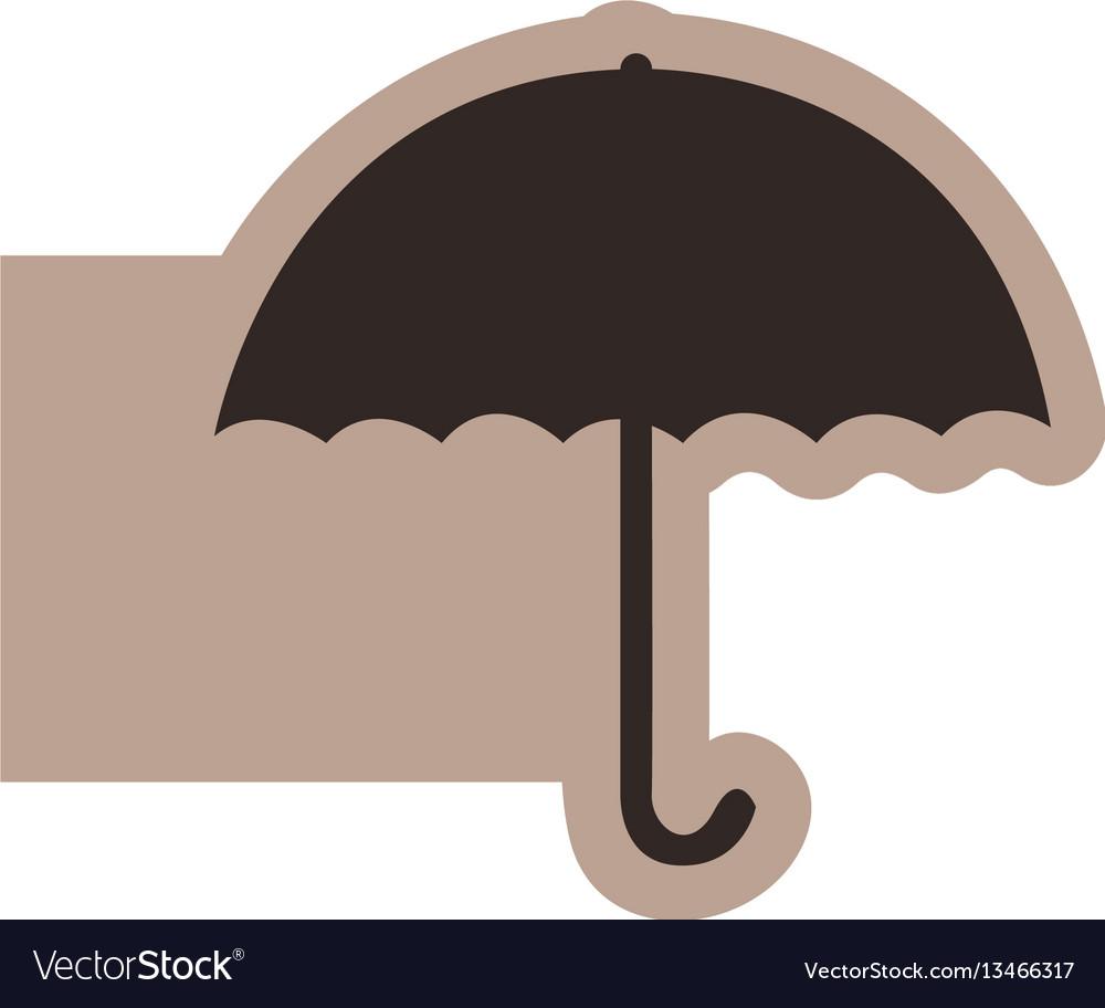 Brown emblem sticker umbrella icon