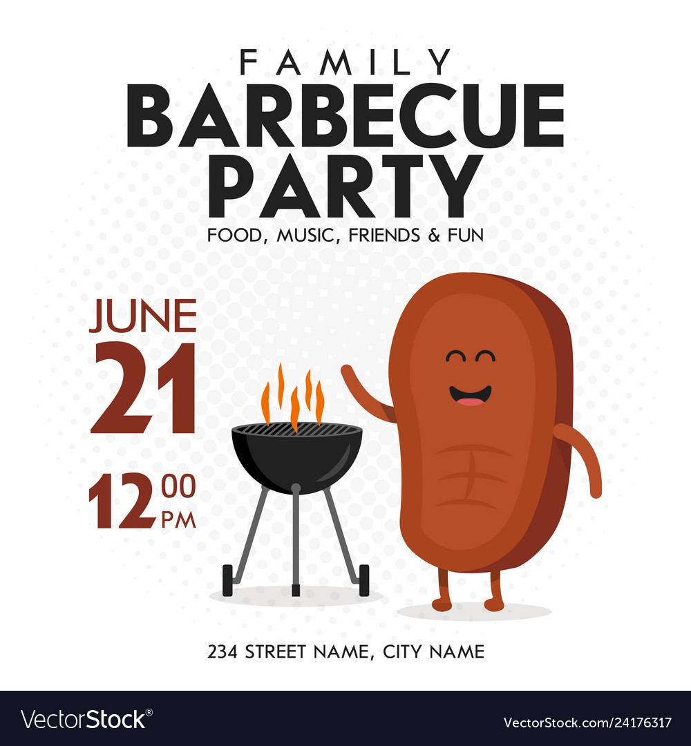 Family bbq party invitation template cute steak