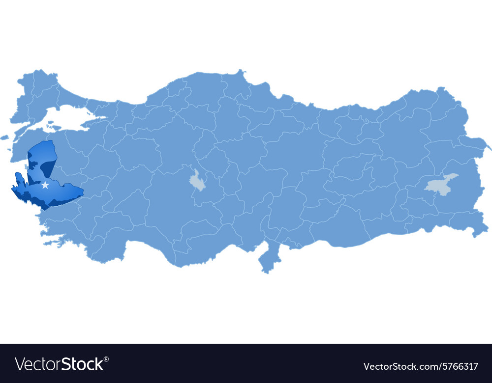 Map Of Turkey Izmir Royalty Free Vector Image Vectorstock