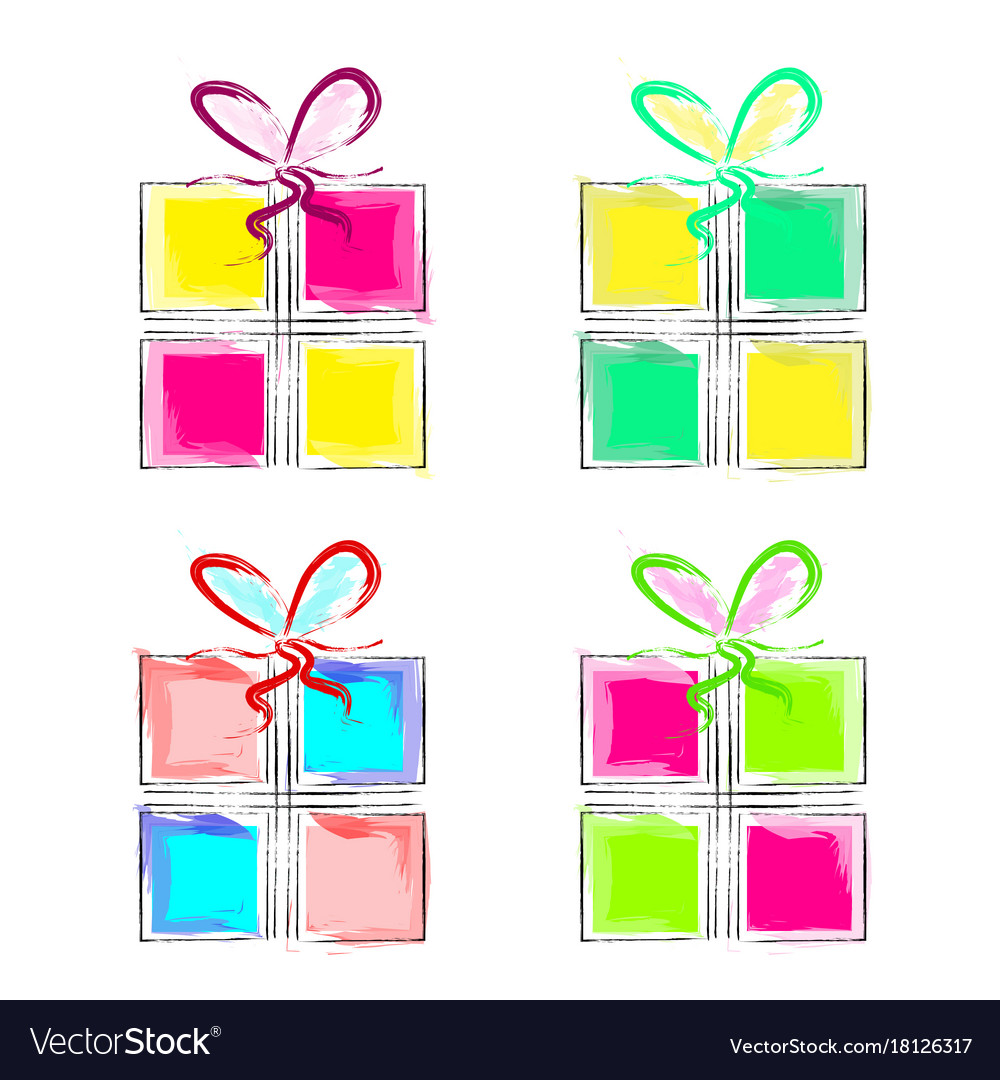 Set of four colorful gift boxes