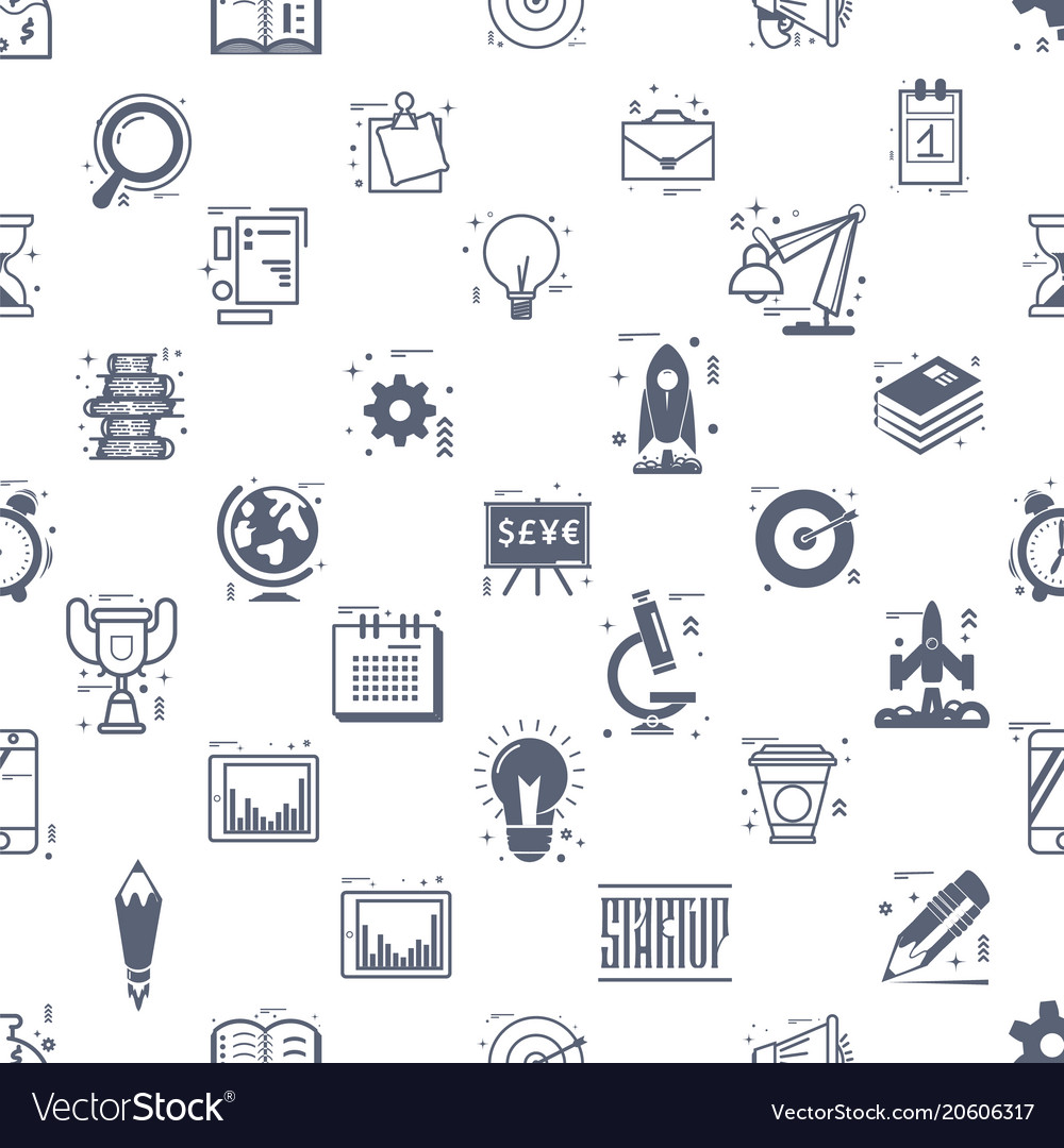 Start up seamless pattern business icons linear