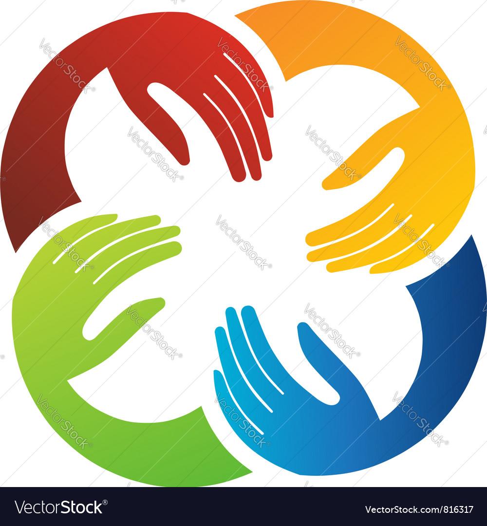 Teamwork hand vector image