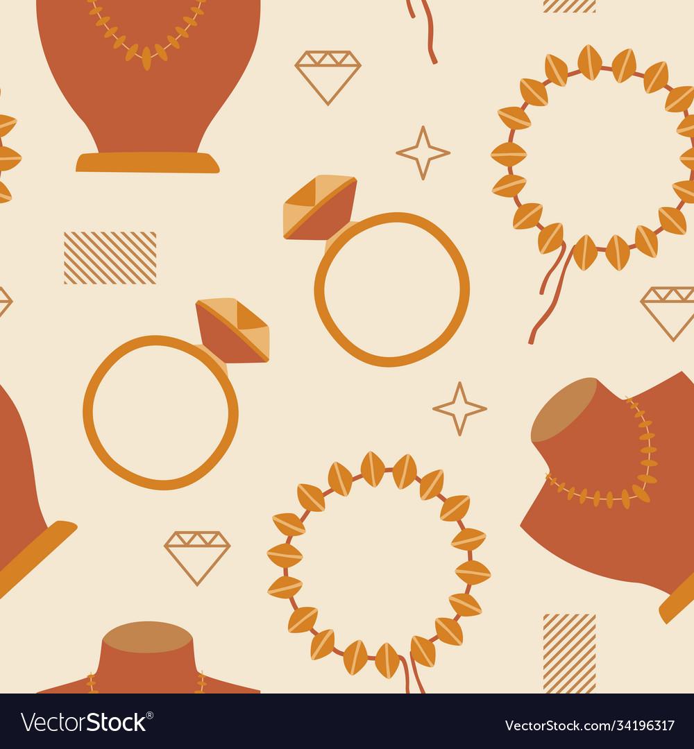 Woman fashion jewelry seamless pattern background
