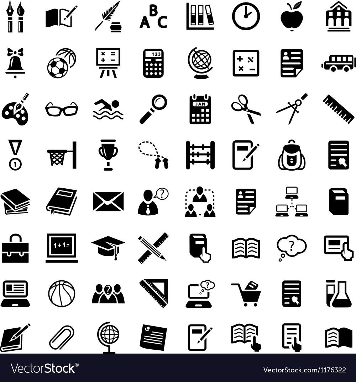 Big school icon set vector image