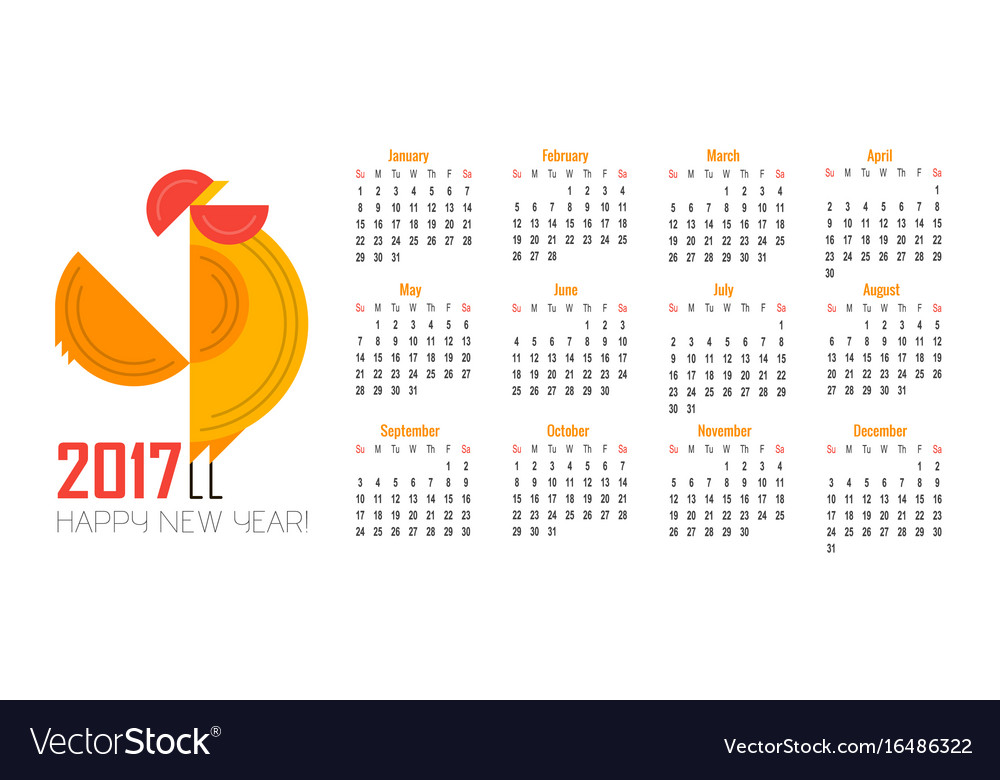 Calendar for 2017 of red rooster symbol of 2017