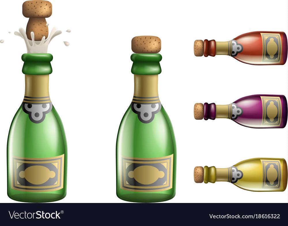 Celebration champagne popping cork bottle pledge vector image