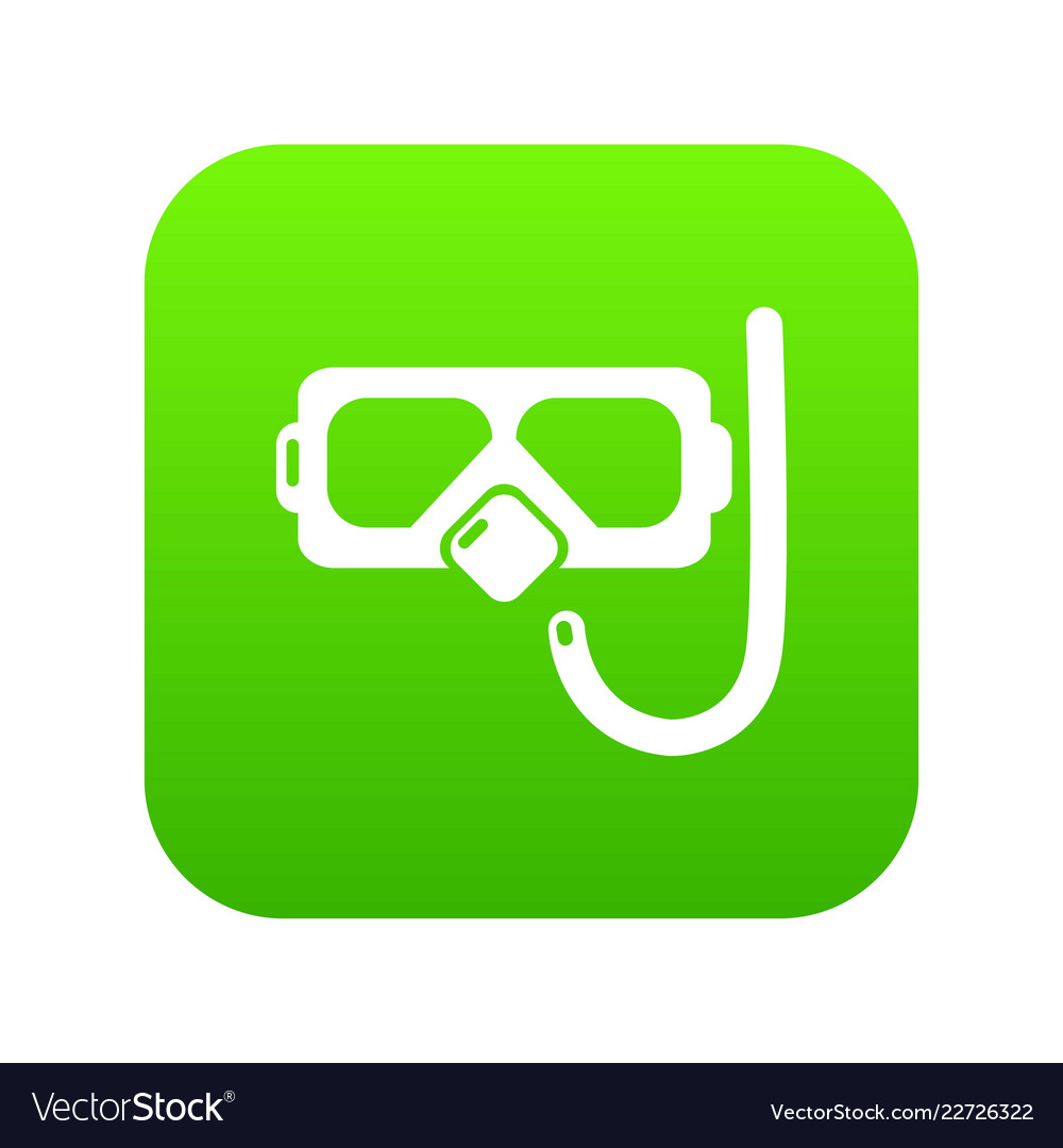 Diving mask snorkel icon green