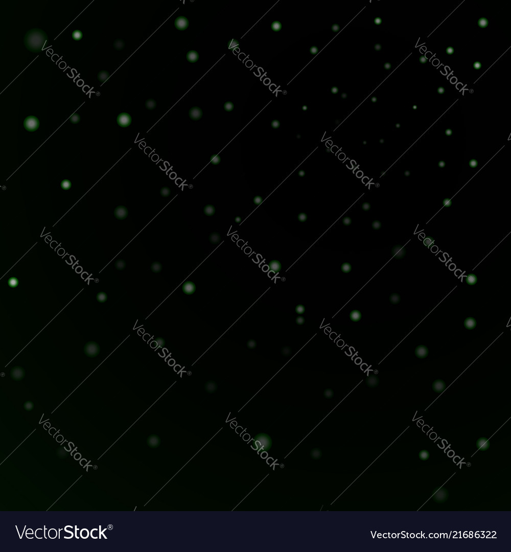 Green stars black night sky background abstract