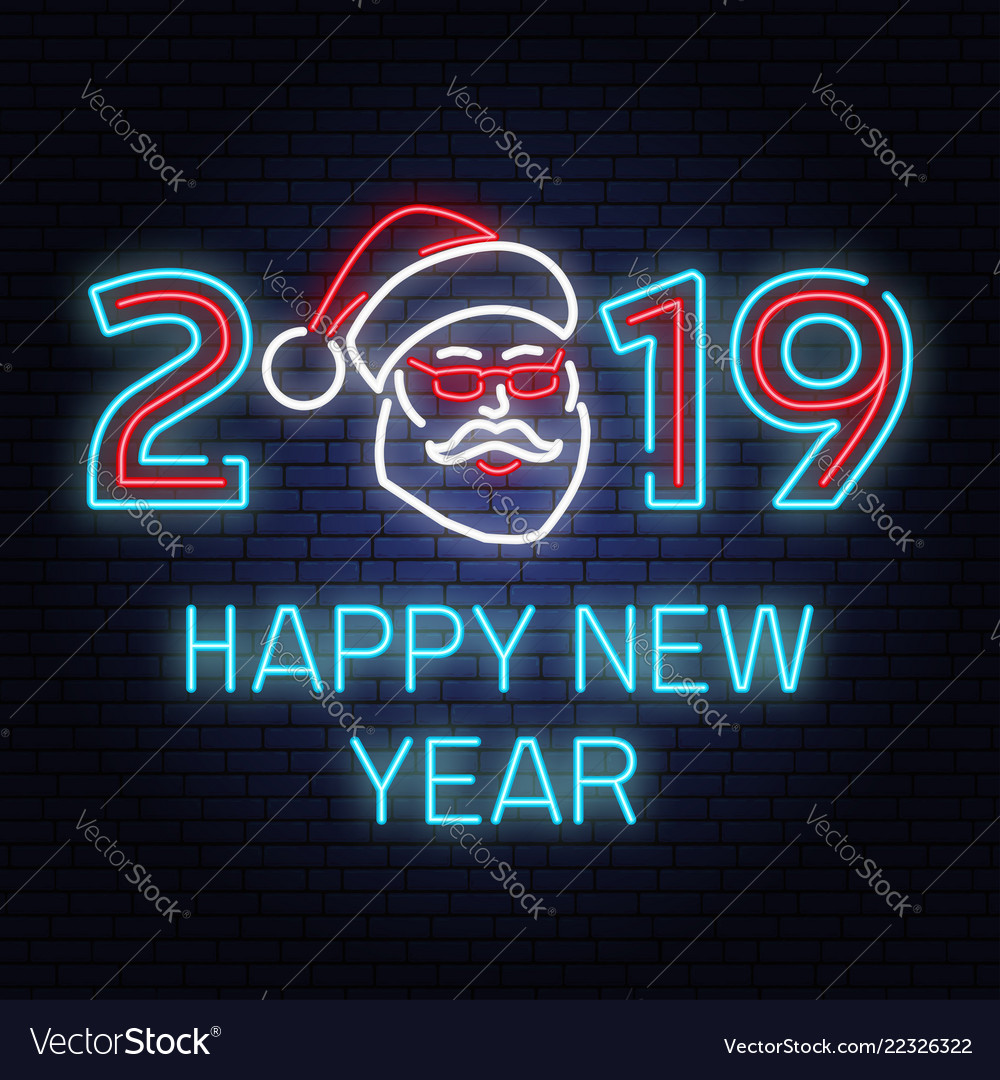 Happy new year 2019 neon sign with santa claus