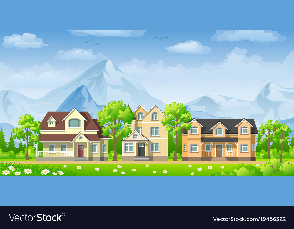 Landscape With Three Classic Houses Royalty Free Vector