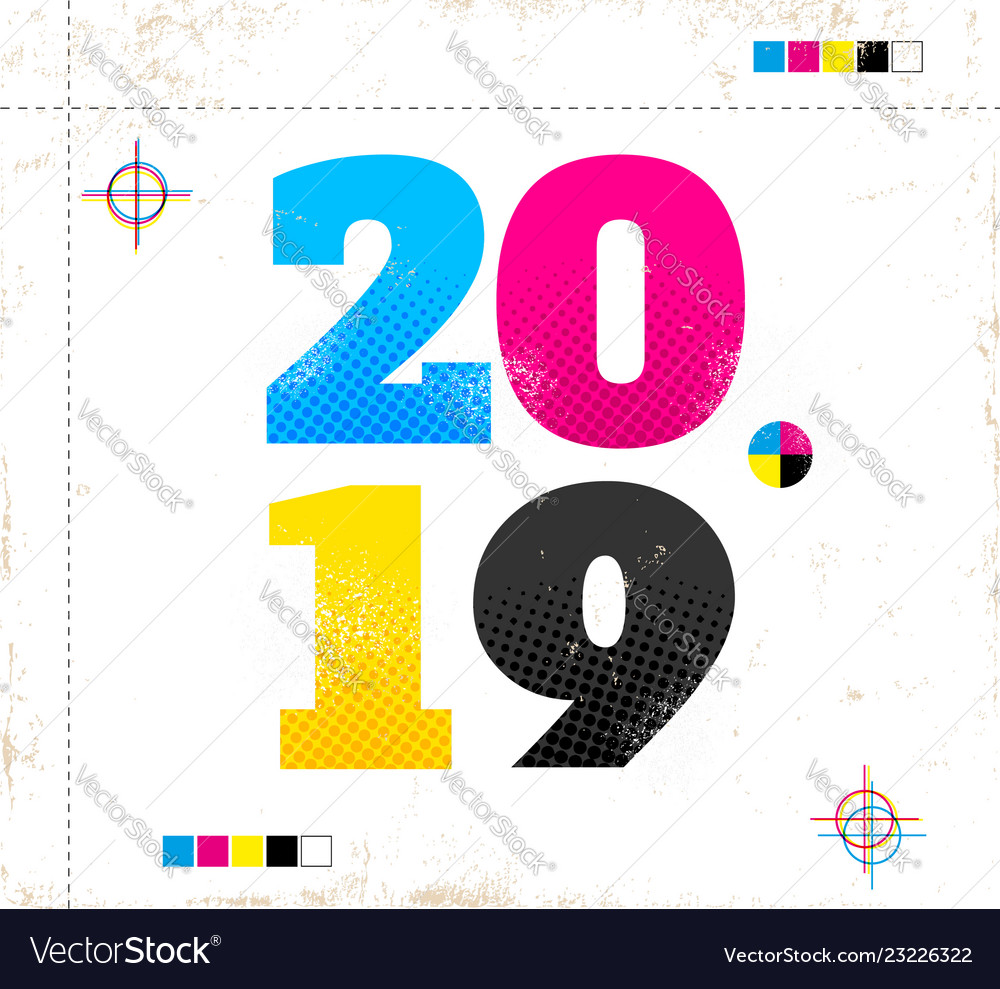 Retro poster for new year 2019