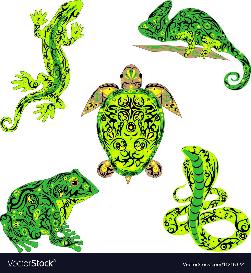 Set of reptiles green