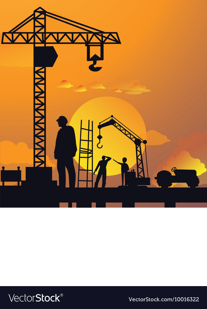 Silhouette of man working on construction site