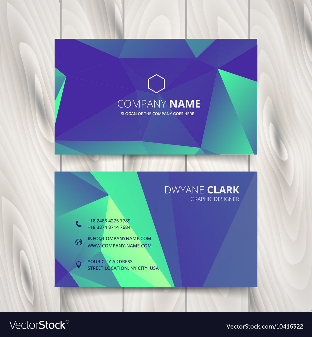Triangulated blue purple business card Royalty Free Vector