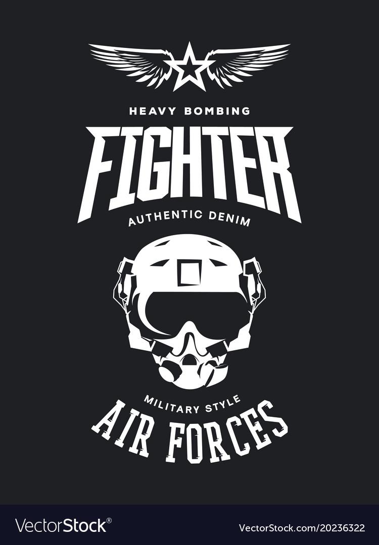 Vintage fighter pilot helmet logo