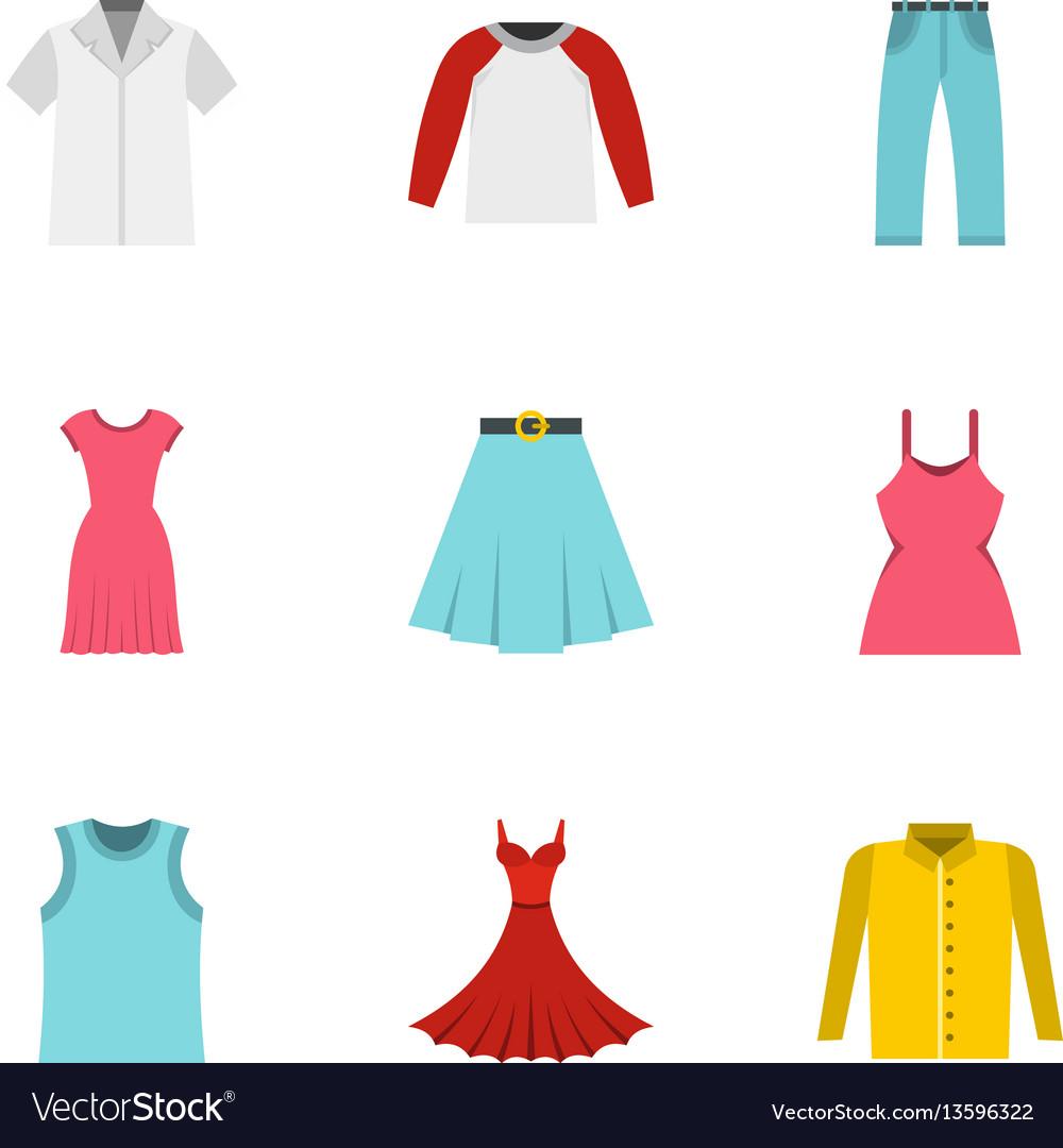Wardrobe icons set flat style