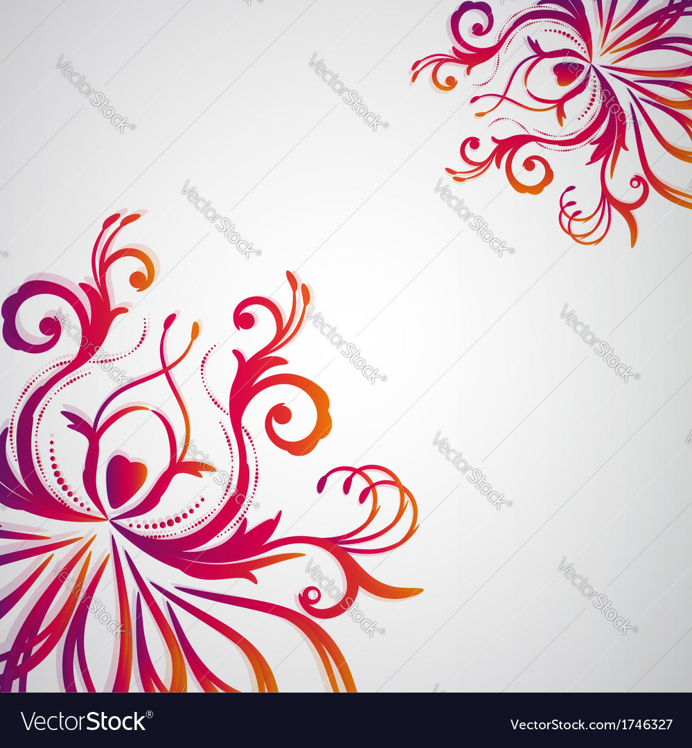 Abstract Floral Background With Oriental Flowers Vector Image