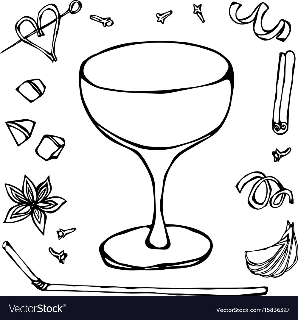 Champagne Saucer Cocktail Glass Hand Drawn Vector Image