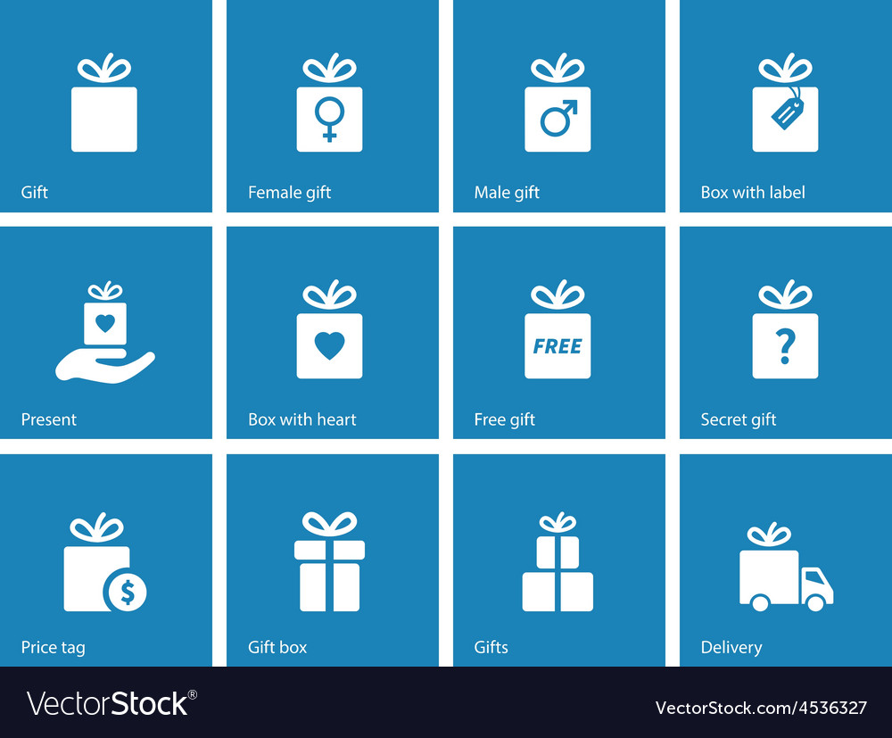 Collection of present boxes on blue background vector image