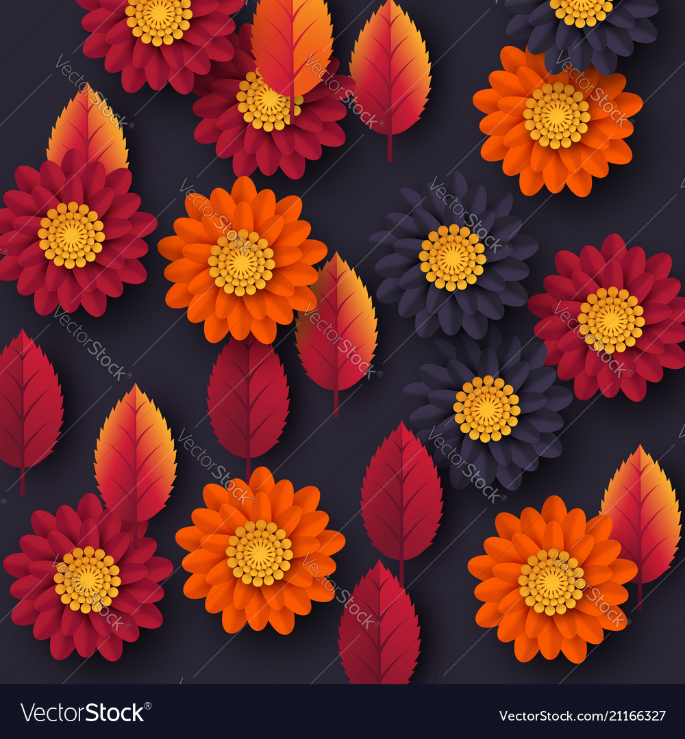 Floral autumn background with 3d paper cut style