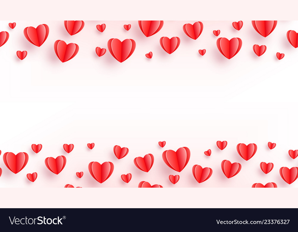 Heart seamless background with red paper cut