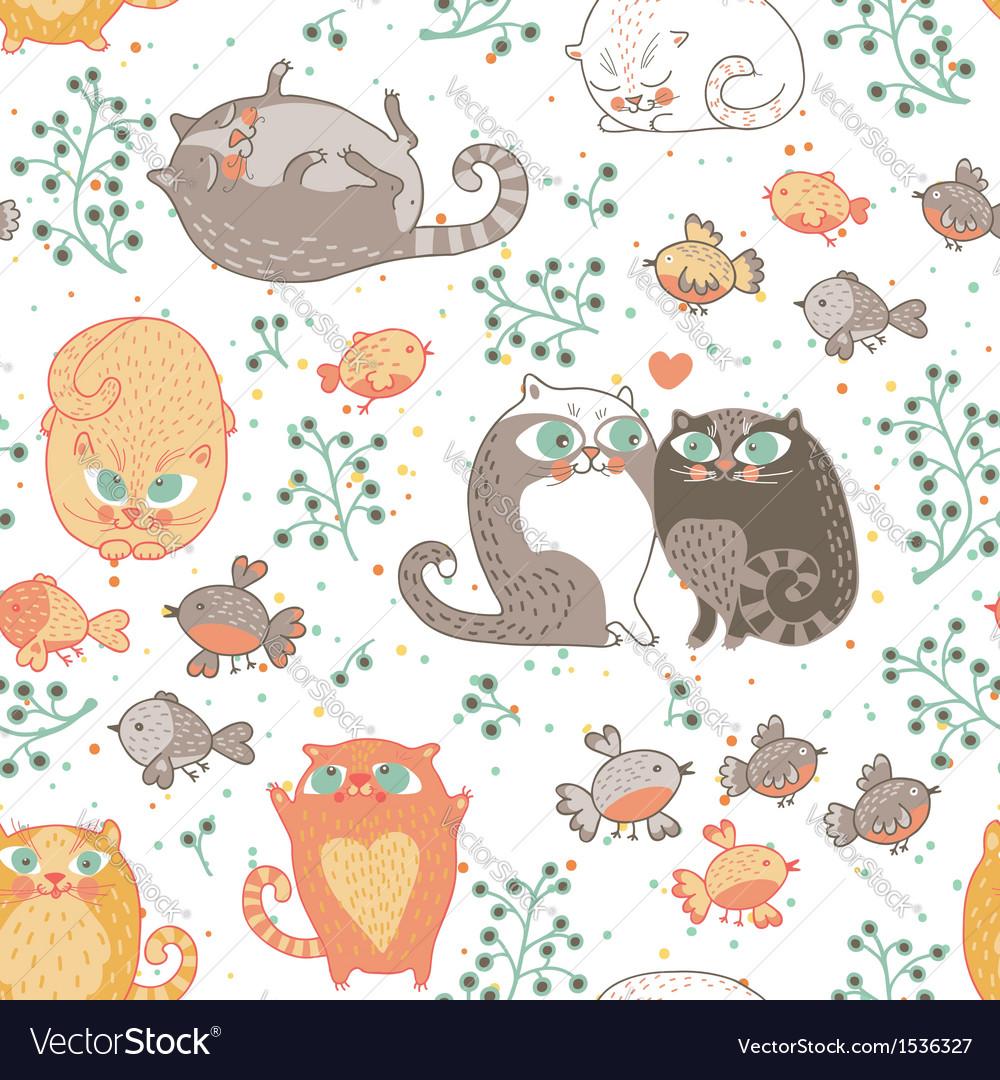Kats and birds vector image