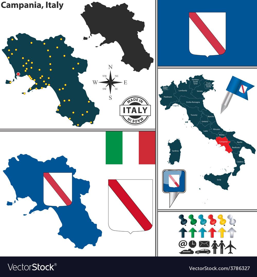 Map of Campania Royalty Free Vector Image - VectorStock