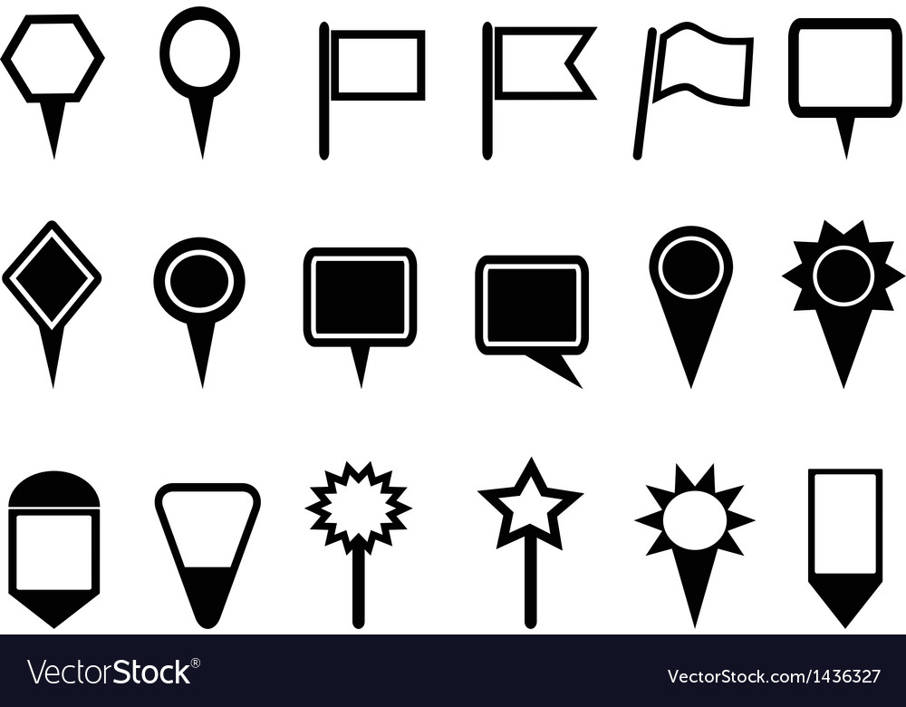 Map pointer and Navigation icons vector image