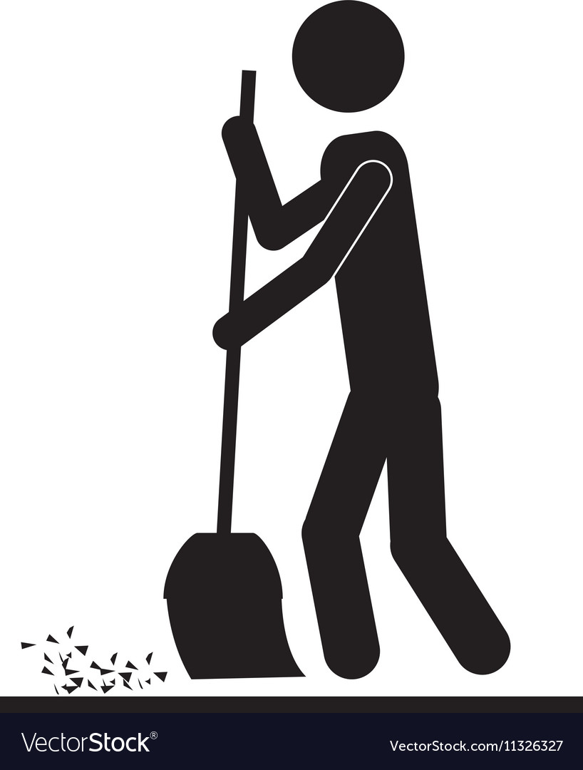 Person with broom icon image vector image